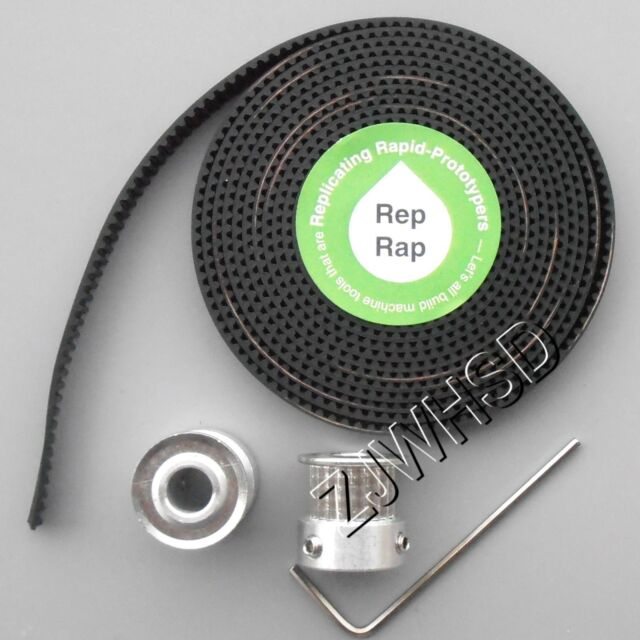 "RepRap 2x GT2 20T 6.35mm 1/4"" Bore Pulleys & 2M Timing Belt Set for 3D NEMA CNC"