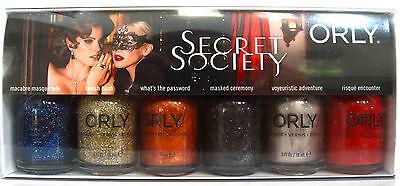 ORLY SECRET SOCIETY 6-pc Polish Set~Macabre/Lavish/Password/Masked/Risque *NIB