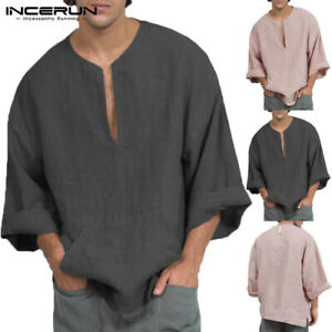 45c3db55d09f UK STOCK Mens Linen Cotton Blouse Baggy Kaftan T-shirt Casual Tops ...