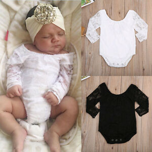 2b4649821ad Image is loading Newborn-Toddler-Baby-Girls-Lace-Floral-Romper-Bodysuit-