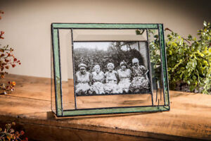 J-Devlin-Glass-Bevels-amp-Windsor-Blue-Stained-Glass-4x6-Horizontal-Picture-Frame