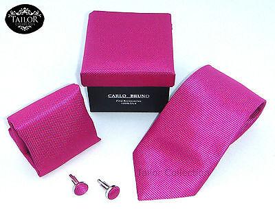 Brand New Mens Cufflinks Tie Hanky Handkerchief Set Silk Wedding Gift, Work