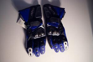 Handschuhe-Gloves-Racer-Power-blau-schwarz-Carbon-Protektor-Belueftung-Motorrad
