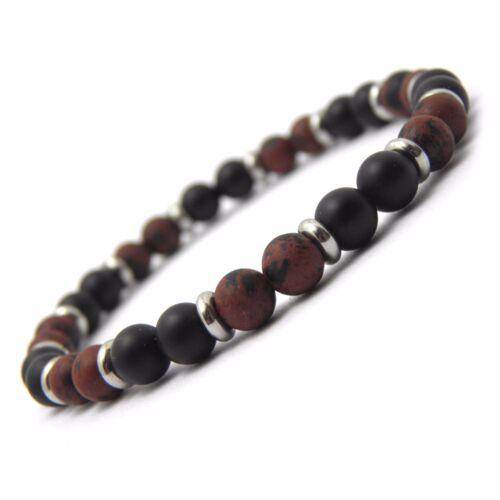 Bracelet homme//femme perles naturelle Pierre de gemmes métal inoxydable//inox P25
