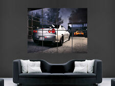NISSAN R34 GTR SKYLINE CAR  WALL POSTER ART PICTURE PRINT LARGE  HUGE