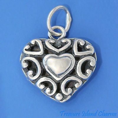 Brother Two-Sided Heart .925 Solid Sterling Silver Charm Pendant MADE IN USA