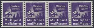 """TD91 XF-SUP Test/Dummy Strip 4 """"Commercial Controls"""" """"Multipost Mailmaster"""" MNH"""