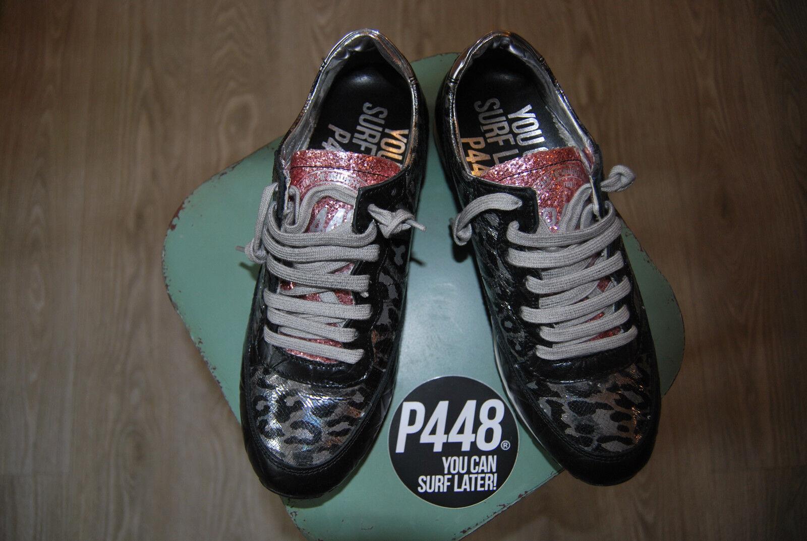 Sneaker Leo donna di p448 crack Leo Sneaker Nero Low nuove con scatola UVP 197,-€ 8b6f50