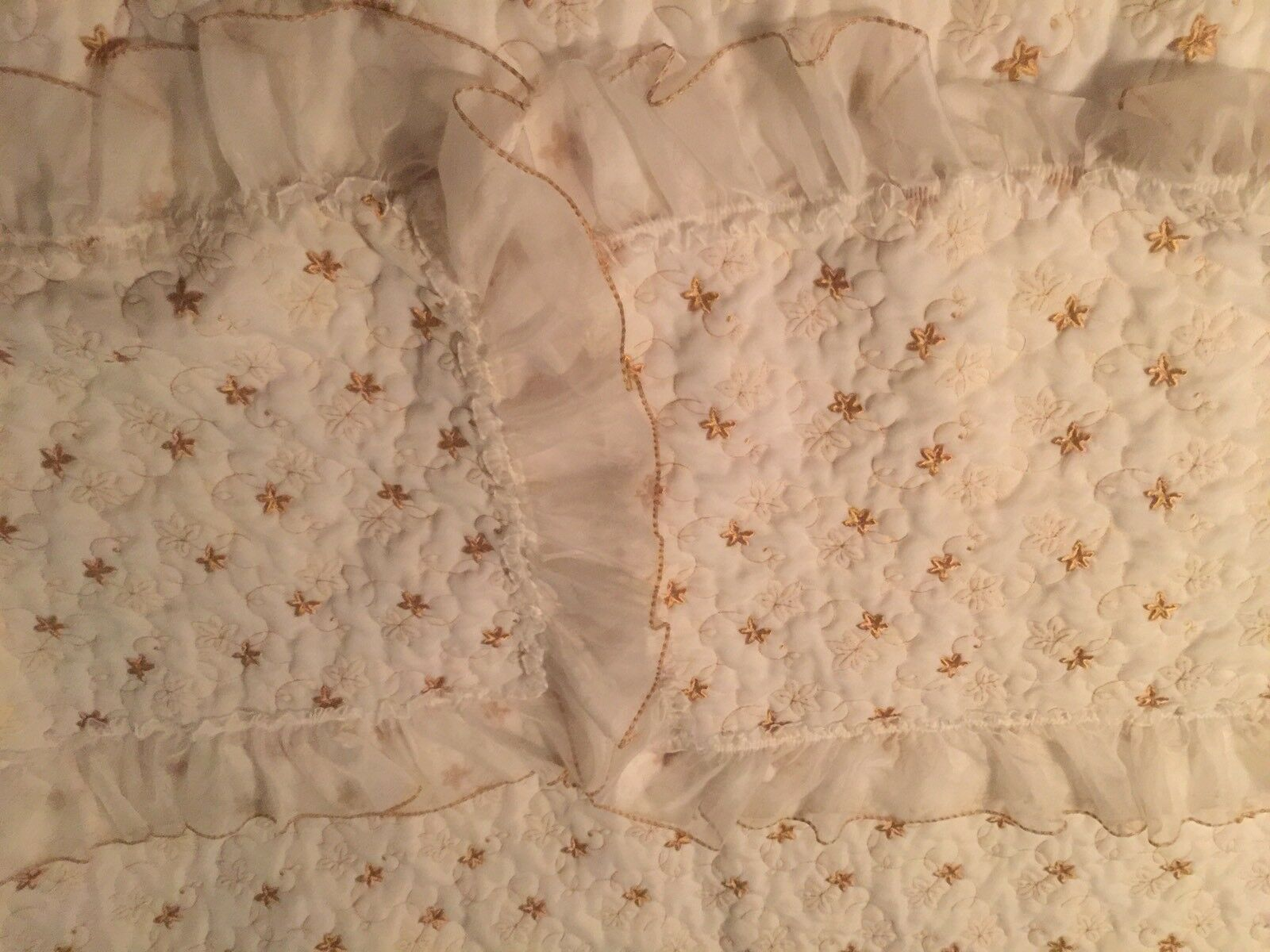 Vintage Sheer Quilted Bedspread & 2 Shams HOLLYWOOD REGENCY Style Sweet
