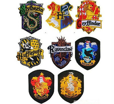 New Harry Potter Hogwart House Crest Emblem Embroidery Stick Iron On Patch Badge