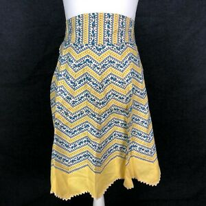 Vintage Half Waist Apron Chevron Mid Century Zipper Trim Yellow Gray Blue Black