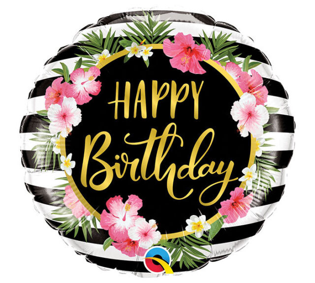 Happy Birthday Gold Script Floral Flowers Pink 18 Mylar Balloons Party 3 Pack For Sale Online