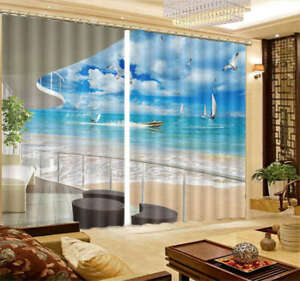 Sailing-Boat-Surfing-3D-Curtain-Blockout-Photo-Printing-Curtains-Drape-Fabric