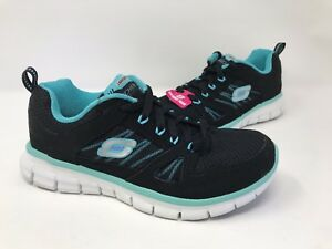 New! Women's Skechers Synergy 12089 Athletic Shoes - Black/Aqua C21