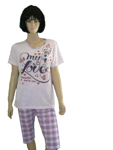 Damen Schlafanzug Shorty,Hausanzug Caprihose,kurzer Arm Baumwolle M 46 38 -XXL