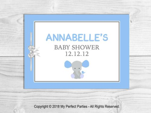 PERSONALISED Baby Shower Guest Book Blue Elephant. Keep Sake Baby Boy Game
