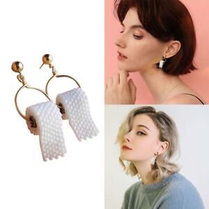 Hand-Perlen-Ohrringe-Rolle-Toilettenpapier-Muster-Mode-Lustiger-Schmuck