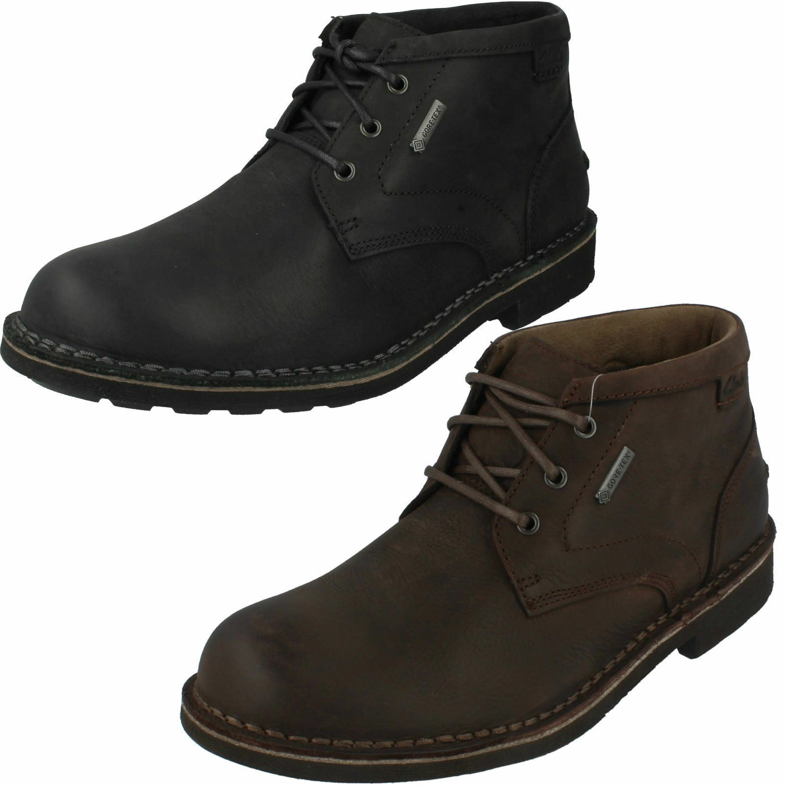 Mens Black Brown Waxed Leather Lace Up Clarks Gore-tex Ankle Boots Lawes Mid