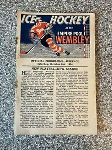 Wembley Empire Pool - Wembley Lions - Ice Hockey Programme 02/10/1954