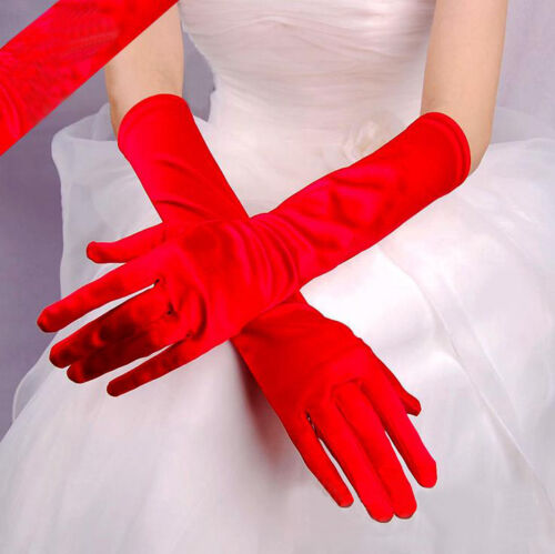 Femme Gants Long Extensible Flexible Satin Pour Mariage Mariée Club Opéra ycs