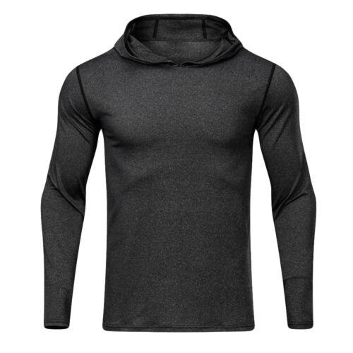 Men/'s Sports Fitness Long Sleeved Shirt Hooded Loose Elastic Fast Dry Slim Tops