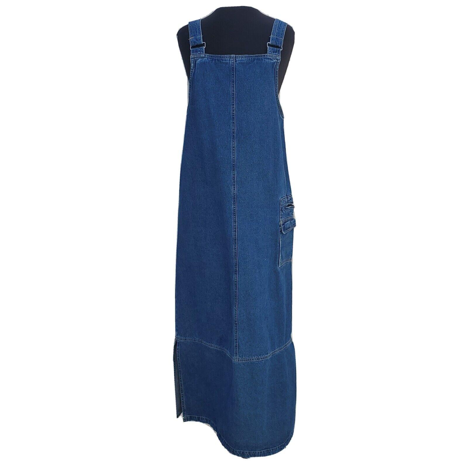 Vintage 90s Denim Bib Apron Maxi Dress Sleeveless… - image 1