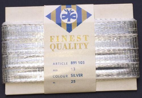 1.3cm Wide Shiny Vintage Silver Metal Ribbon 25m long