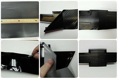 Black Carbon Fiber Vinyl Sheet KIT-(2) U-Cut Overlays for Chevy Bowtie Emblems