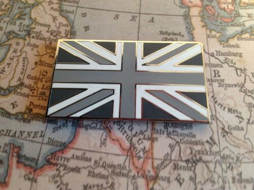 UNION JACK GB CAR BADGE FLAG WITH 3M S//A JAGUAR LAND ROVER TVR MG BLACK