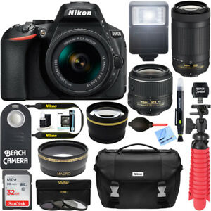 Nikon-D5600-24-2MP-DSLR-Camera-AF-P-18-55mm-w-70-300mm-Lens-Memory-amp-Flash-Ki