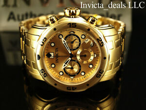Invicta-Men-039-s-48mm-PRO-DIVER-Scuba-Chronograph-Gold-Dial-18K-Gold-Plated-Watch