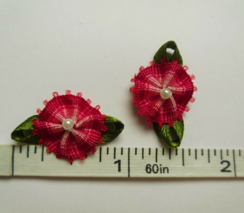 "36 Pcs-R0142R 7//8/"" OMBRE ROUGE//ROSE Picot Bord Cercle Ruban Fleurs avec Perles"