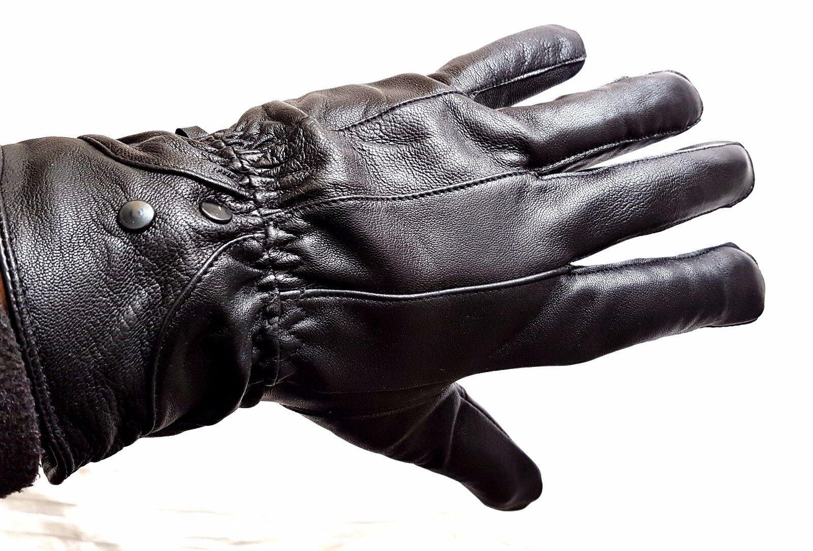 Black 100% Genuine Leather Gloves for Men's