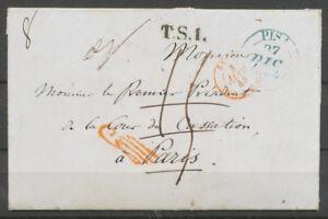 1844-Lettre-de-Pise-Italie-taxee-puis-Franchise-a-detaxer-griffe-Rge-P5184