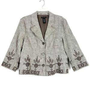 AXCESS-Embroidered-Linen-Blend-Blazer-women-039-s-Plus-size-14