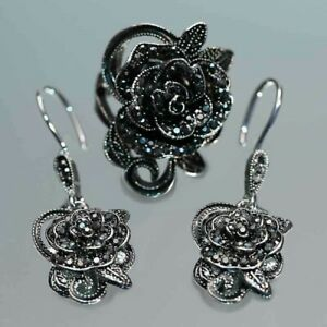 Women-Fashion-925-Silver-Jewelry-Vintage-Black-Flowers-Dangle-Drop-Earrings