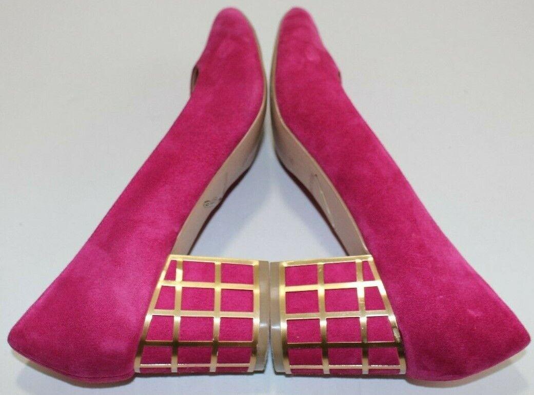 Brian Atwood 9.5 Karina Pink Suede Pointed Toe Pump gold Lattice Clad Block Heel