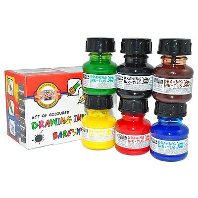 SET OF 6 KOH-I-NOOR ARTIST DRAWING INKS FOR DIP PEN OR BRUSH INC RED BLACK BROWN