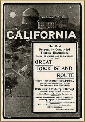 1900 D Great Rock Island Route Railroad Lick Observatory Travel Print Ad Do You Want To Buy Some Chinese Native Produce? Merchandise & Memorabilia Advertising-print