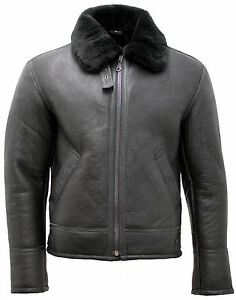 Fur Flying Men's Jacket Real Leather Sheepskin 'air Force' Black Shearling HSBRv