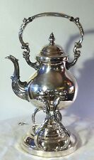 Antique F.B.Rogers 1883 Silver Over Copper Tilting Tea pot on Stand With Burner