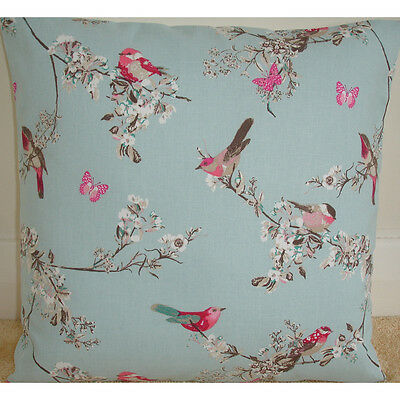 """NEW 14"""" Cushion Cover Pink Birds Butterflies Blossom Trees Duck Egg Blue Floral"""