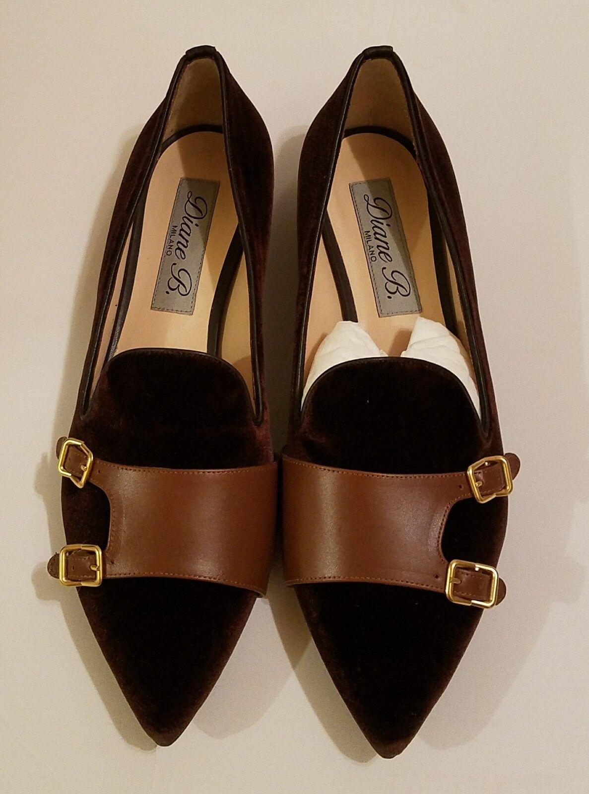 NWB Diane B B B Milano Ladies shoes Velvet Pointy Monk Flats Brn Tan Sz 41 (10 10.5) 5e2563