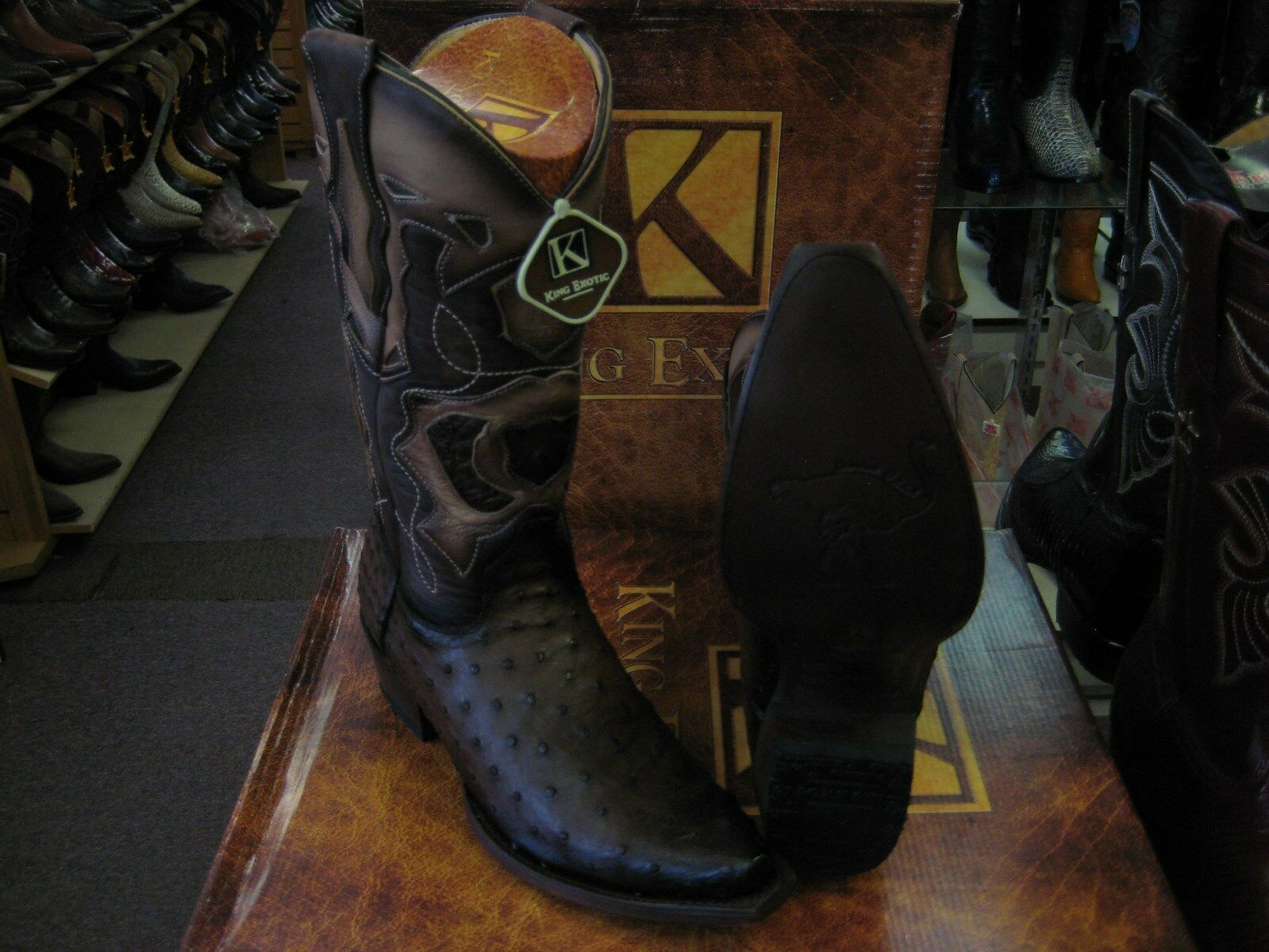 KING EXOTIC BROWN SNIP TOE GENUINE OSTRICH WESTERN COWBOY BOOT EE+ 94R0316