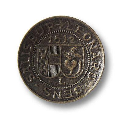 0646ku 5 eindrucksvolle altkupferfarbene Metall Ösen Knöpfe mit Wappen