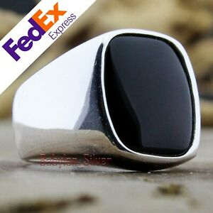 Onyx-Stone-925-Sterling-Silver-TURKISH-Handmade-Luxury-Men-039-s-Ring-All-Sizes