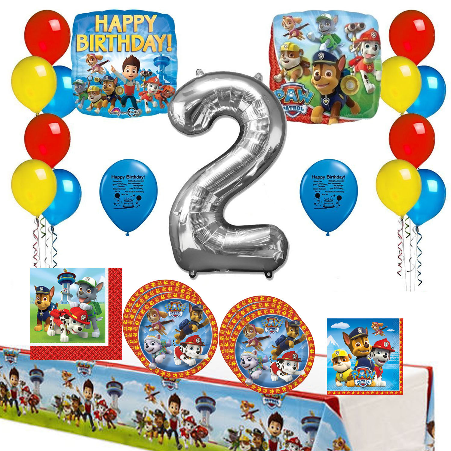 Paw Patrol Party Supplies 2nd Birthday Tableware and Deluxe Room Decoration Kit