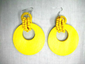 NEW-BIG-TROPICAL-YELLOW-FLAT-HOOP-w-3-BEAD-STRAND-WRAP-DANGLING-FASHION-EARRINGS