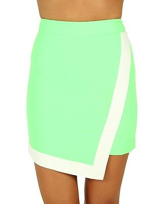 Minty Meets Munt The Block Skirt - Neon Green/White (X-Small)