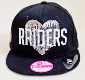 Women s New Era 9FIFTY Snapback Raiders Sequin Glitter Adjustable ... 0995d3b26e01